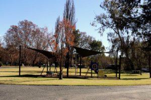 Riverglade Caravan Park children's playground with sun shade