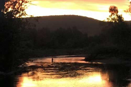 Fishing the sunset Riverglade CAravan Park